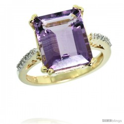 14k Yellow Gold Diamond Amethyst Ring 5.83 ct Emerald Shape 12x10 Stone 1/2 in wide