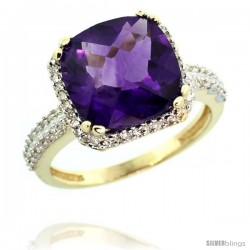 14k Yellow Gold Diamond Halo Amethyst Ring Checkerboard Cushion 11 mm 5.85 ct 1/2 in wide