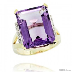 14k Yellow Gold Diamond Amethyst Ring 12 ct Emerald Cut 16x12 stone 3/4 in wide