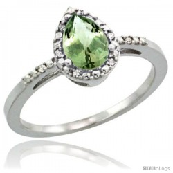 Sterling Silver Diamond Natural Green Amethyst Ring Ring 0.59 ct Tear Drop 7x5 Stone 3/8 in wide