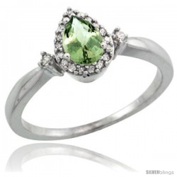 Sterling Silver Diamond Natural Green Amethyst Ring Ring 0.33 ct Tear Drop 6x4 Stone 3/8 in wide