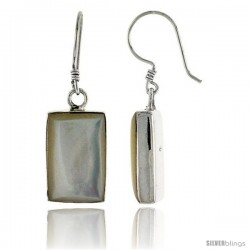 "Sterling Silver Rectangular Mother of Pearl Inlay Earrings, 5/8"" (16 mm) tall"