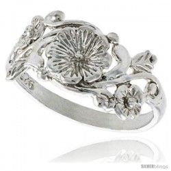 Sterling Silver Flower Ring 3/8 in wide