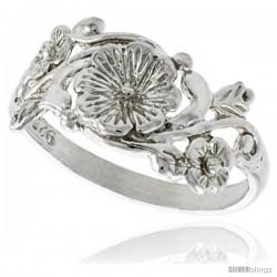 Sterling Silver Flower Ring 3/8 in wide