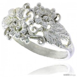 Sterling Silver Floral Vine Ring 3/8 in wide