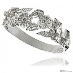 Sterling Silver Floral Ring Polished finish 1/4 in wide