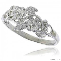 Sterling Silver Floral Vine Ring Polished finish 3/8 in wide