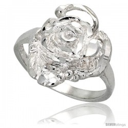 Sterling Silver Rose Flower Ring Polished finish 5/8 in wide -Style Ffr434
