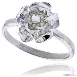 Sterling Silver Floral Ring Polished finish 3/8 in wide