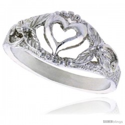 Sterling Silver Heart Ring Polished finish 3/8 in wide