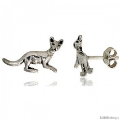 Tiny Sterling Silver Kangaroo Stud Earrings 1/2 in