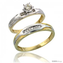 10k Yellow Gold 2-Piece Diamond wedding Engagement Ring Set for Him & Her, 3.5mm & 4.5mm wide