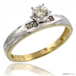 10k Yellow Gold Diamond Engagement Ring, 1/8inch wide