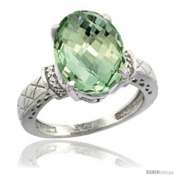 Sterling Silver Diamond Natural Green Amethyst Ring Ring 5.5 ct Oval 14x10 Stone