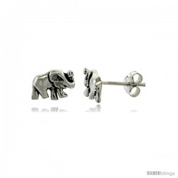 Tiny Sterling Silver Elephant Stud Earrings