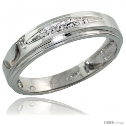 10k White Gold Ladies Diamond Wedding Band Ring 0.02 cttw Brilliant Cut, 3/16 in wide -Style 10w013lb