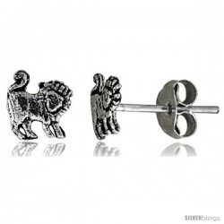 Tiny Sterling Silver Lion Stud Earrings 5/16 in