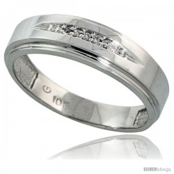 10k White Gold Mens Diamond Wedding Band Ring 0.03 cttw Brilliant Cut, 1/4 in wide -Style 10w013mb