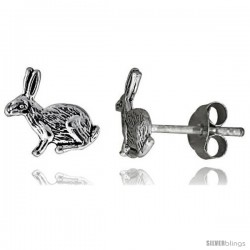 Tiny Sterling Silver Rabbit Stud Earrings 3/8 in