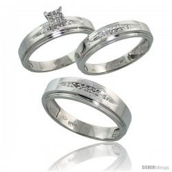 10k White Gold Diamond Trio Engagement Wedding Ring 3-piece Set for Him & Her 6 mm & 5 mm wide 0.11 cttw Brilliant Cut