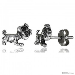 Tiny Sterling Silver Dog Stud Earrings 3/8 in