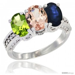 14K White Gold Natural Peridot, Morganite & Blue Sapphire Ring 3-Stone Oval 7x5 mm Diamond Accent