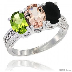 14K White Gold Natural Peridot, Morganite & Black Onyx Ring 3-Stone Oval 7x5 mm Diamond Accent