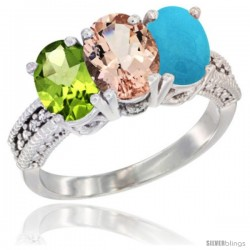 14K White Gold Natural Peridot, Morganite & Turquoise Ring 3-Stone Oval 7x5 mm Diamond Accent