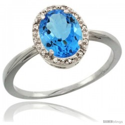 Sterling Silver Natural Swiss Blue Topaz Diamond Halo Ring 1.17 Carat 8X6 mm Oval Shape, 1/2 in wide