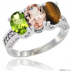 14K White Gold Natural Peridot, Morganite & Tiger Eye Ring 3-Stone Oval 7x5 mm Diamond Accent