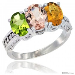 14K White Gold Natural Peridot, Morganite & Whisky Quartz Ring 3-Stone Oval 7x5 mm Diamond Accent