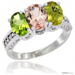 14K White Gold Natural Peridot, Morganite & Lemon Quartz Ring 3-Stone Oval 7x5 mm Diamond Accent