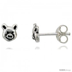 Tiny Sterling Silver Pig Stud Earrings 5/16 in