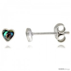 Sterling Silver Tiny Abalone Shell Stud Earrings Heart Shape, 5/32 in