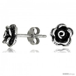 Tiny Sterling Silver Rose Stud Earrings 5/16 in
