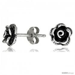 Tiny Sterling Silver Rose Stud Earrings 5/16 in