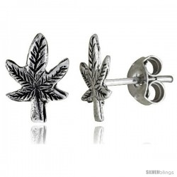 Tiny Sterling Silver Leaf Stud Earrings 5/16 in -Style Es62