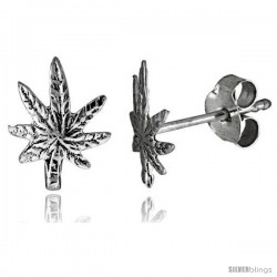 Tiny Sterling Silver Leaf Stud Earrings 3/8 in -Style Es65