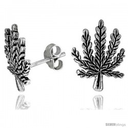 Tiny Sterling Silver Leaf Stud Earrings 9/16 in