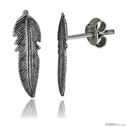 Tiny Sterling Silver Feather Stud Earrings 5/8 in