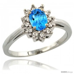 Sterling Silver Natural Swiss Blue Topaz Diamond Halo Ring Oval Shape 1.2 Carat 6X4 mm, 1/2 in wide