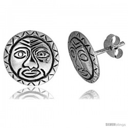 Tiny Sterling Silver Sun Stud Earrings 7/16 in