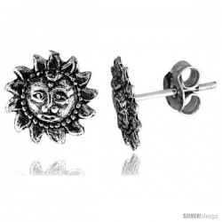Tiny Sterling Silver Sun Stud Earrings 3/8 in