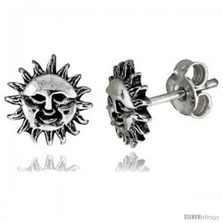 Tiny Sterling Silver Sun Stud Earrings 5/16 in