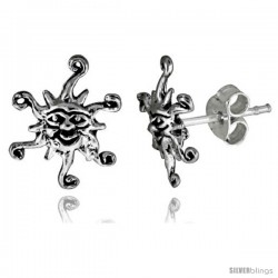 Tiny Sterling Silver Sun Stud Earrings 7/16 in -Style Es72