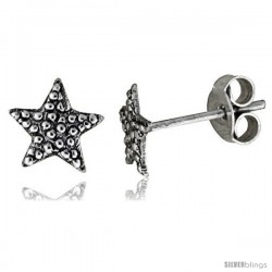 Tiny Sterling Silver Star Stud Earrings 5/16 in -Style Es77