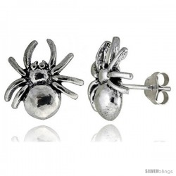 Tiny Sterling Silver Spider Stud Earrings 1/2 in -Style Es8
