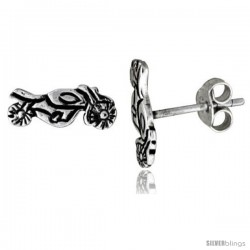 Tiny Sterling Silver MOTORCYCLE Stud Earrings 7/16 in -Style Es80