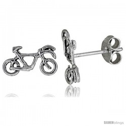 Tiny Sterling Silver Bicycle Stud Earrings 3/8 in