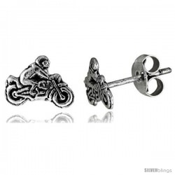 Tiny Sterling Silver MOTORCYCLE Stud Earrings 5/16 in -Style Es83
